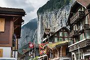 Hotel Oberland under Staubbach Falls, in Lauterbrunnen village, canton of Bern, Switzerland, the Alps, Europe.