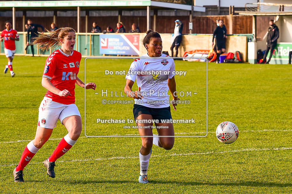 Crayford   England    07 March 2021   The Oakwood<br /> <br /> Lewes's Ini Umotong gets infront of the defence<br /> <br /> Charlton v Lewes<br /> <br /> The FA Women's Championship<br /> <br /> (Photo: © Jon Hilliger / HilligerPix)