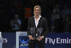 November 18, 2017 - London, England, United Kingdom - Denis Shapovalov after being presented with trophies for the ATP Star of Tomorrow and Most Improved Player at O2 Arena on November 18, 2017 in London, England. (Credit Image: © Alberto Pezzali/NurPhoto via ZUMA Press)