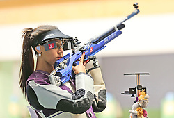 05.09.2015, Olympia Schiessanlage Hochbrueck, Muenchen, GER, ISSF World Cup 2015, Gewehr, Pistole, Damen, 10 Meter Luftgewehr, im Bild Ivana Maksimovic (SRB) richtet sich ein // during the women's 10M air rifle competition of the 2015 ISSF World Cup at the Olympia Schiessanlage Hochbrueck in Muenchen, Germany on 2015/09/05. EXPA Pictures © 2015, PhotoCredit: EXPA/ Eibner-Pressefoto/ Wuest<br /> <br /> *****ATTENTION - OUT of GER*****