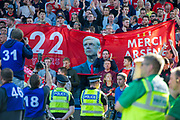 Arsenal fans hold up a flag thanking Arsenal Manager Arsene Wenger for his 22 years at the club during the Premier League match between Huddersfield Town and Arsenal at the John Smiths Stadium, Huddersfield, England on 13 May 2018. Picture by Craig Zadoroznyj.