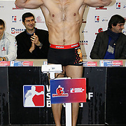 Istanbulls Onur SIPAL boxers seen during their Presentation and the weighing ceremony matchday 5 of the World Series of Boxing at Ayhan Sahenk Arena in Istanbul, Turkey, Thursday, March 10, 2011. Photo by TURKPIX