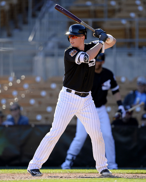 GLENDALE, ARIZONA - MARCH 06:  Zach Collins #86 of the Chicago White Sox bats during a spring training game against the San Diego Padres on March 6, 2017 at Camelback Ranch in Glendale Arizona.  (Photo by Ron Vesely)   Subject:   Zach Collins