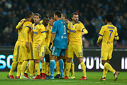 December 1, 2017 - Naples, Italy - Gonzalo Higuain of Juventus with the teammates celebrating during the Serie A match between SSC Napoli and Juventus at Stadio San Paolo on December 1, 2017 in Naples, Italy. (Credit Image: © Matteo Ciambelli/NurPhoto via ZUMA Press)
