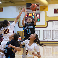 Navajo Prep Eagle Hailey Martin (11) takes a shot while Tohatchi Cougar Cameron Tsosie (20) defends at Tohatchi High School Thursday night in Tohatchi.