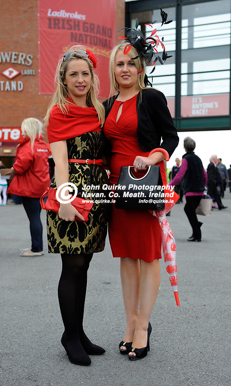 25-04-11. Fairyhouse Easter Festival 2011.<br /> Therese Egan (Left), Kildalkey and Fiona Mullen, Athboy.<br /> Photo: John Quirke / www.quirke.ie<br /> ©John Quirke Photography, Unit 17, Blackcastle Shopping Cte. Navan. Co. Meath. 046-9079044 / 087-2579454.
