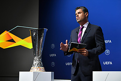 NYON, SWITZERLAND - Friday, July 10, 2020: Presenter Pedro Pinto during the UEFA Champions League and UEFA Europa League 2019/20 draws for the Quarter-final, Semi-final and Final at the UEFA headquarters, The House of European Football. (Photo Handout/UEFA)