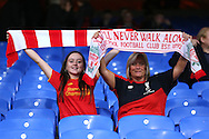 two Liverpool fans look on before k/o. Premier League match, Crystal Palace v Liverpool at Selhurst Park in London on Saturday 29th October 2016.<br /> pic by John Patrick Fletcher, Andrew Orchard sports photography.