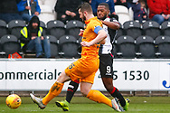 Craig Halkett of Livingston gets to the ball ahead of Duckens Nazon of St Mirren during the Ladbrokes Scottish Premiership match between St Mirren and Livingston at the Simple Digital Arena, Paisley, Scotland on 2nd March 2019.