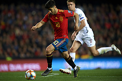 March 23, 2019 - Valencia, Valencia, Spain - Marco Asensio of Spain shooting to goal during the 2020 UEFA European Championships group F qualifying match between Spain and Norway at Estadi de Mestalla on March 23, 2019 in Valencia, Spain. (Credit Image: © Jose Breton/NurPhoto via ZUMA Press)