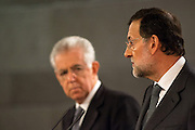 Mario Monti and Mariano Rajoy primer ministers press conference