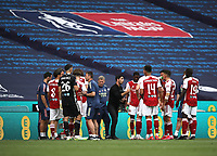 Football - 2020 Emirates 'Heads Up' FA Cup Final - Arsenal vs. Chelsea <br /> <br /> Mikel Arteta (Arsenal head coach) talks to his players during the first half drinks break , at Wembley Stadium.<br /> <br /> The match is being played behind closed doors because of the current COVID-19 Coronavirus pandemic, and government social distancing/lockdown restrictions.