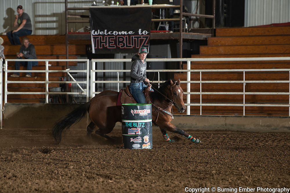 Amanda Wells on Short Horse at the Blitz Barrel Race September 20th 2020  Photo by Josh Homer/Burning Ember Photography.  Photo credit must be given on all uses.