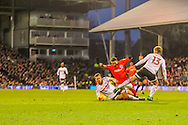 Anthony Knockaert of Brighton and Hove Albion dfouled by Tim Ream during the Sky Bet Championship match at Craven Cottage, London<br /> Picture by Richard Brooks/Focus Images Ltd 07947656233<br /> 02/01/2017