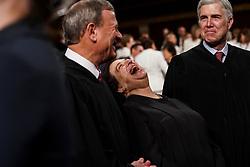 FEBRUARY 5, 2019 - WASHINGTON, DC: Supreme Court Justices John Roberts, Elena Kagan and Neil Gorsuch at the Capitol in Washington, DC, USA on February 5, 2019. Photo by Doug Mills/Pool via CNP/ABACAPRESS.COM
