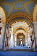 The Baroque Honour Grand Staircase entrance to the Bourbon Kings of Naples Royal Palace of Caserta, Italy. A UNESCO World Heritage Site
