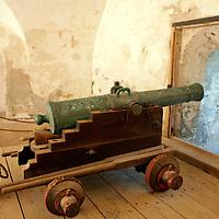 USA, Puerto Rico, San Juan. Cannon at the El Moro Fortress, a UNESCO World Heritage Site.