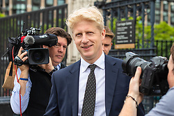 © Licensed to London News Pictures. 20/06/2019. London, UK. Jo Johnson MP, brother of the frontrunner to become the Leader of the Conservative Party and next Prime Minister Boris Johnson MP, leaves Parliament after voting in the leadership campaign. The final two candidates will be put to the party membership in a ballot. Photo credit: Rob Pinney/LNP