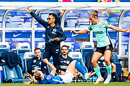 Brighton & Hove Albion manager Hope Powell pointing during the FA Women's Super League match between Birmingham City Women and Brighton and Hove Albion Women at St Andrews, Birmingham United Kingdom on 12 September 2021.