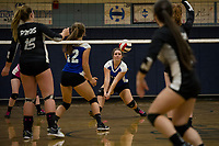 Interlakes Jordan Durand takes a bump during NHIAA Division III volleyball with Prospect Mountain on Monday evening.  (Karen Bobotas/for the Laconia Daily Sun)