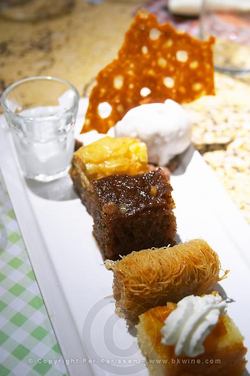 Agioli / Aioli Restaurant on Aristotelous Aristotle Square. Greek sweets with tsipouro. Thessaloniki, Macedonia, Greece