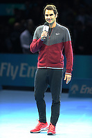 Roger Federer (SUI) explains why he will not be able to play against Novak Djokovic (SRB) in their Singles Final match<br /> due to injury<br /> Photographer Kieran Galvin/CameraSport<br /> <br /> International Tennis - Barclays ATP World Tour Finals - O2 Arena - London - Day 8 - Sunday 16th November 2014<br /> <br /> © CameraSport - 43 Linden Ave. Countesthorpe. Leicester. England. LE8 5PG - Tel: +44 (0) 116 277 4147 - admin@camerasport.com - www.camerasport.com