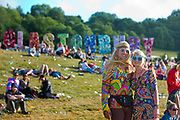 A hippy theme in the Park, Glastonbury run by Emily Eavis (daughter of Michael Eavis) <br /> Glastonbury is the world's biggest greenfield festival with nearly 200,000  visiters camping in the dairy farm of Michael Evis in Somerset, UK.<br /> The first festival was in 1970 and was influenced by hippie ethics and the free festival movement. The festival retains vestiges of this tradition such as the Green Fields area which includes the Green Futures and Healing Field.