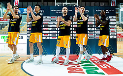 Alen Hodzic of Sixt Primorska, Zan Mark Sisko of Sixt Primorska, Daniel Vujasinovic of Sixt Primorska, Luka Voncina of Sixt Primorska, Corin Darius Henry of Sixt Primorska celebrate after winning during basketball match between KK Sixt Primorska and KK Hopsi Polzela in final of Spar Cup 2018/19, on February 17, 2019 in Arena Bonifika, Koper / Capodistria, Slovenia. KK Sixt Primorska became Slovenian Cup Champion 2019. Photo by Vid Ponikvar / Sportida