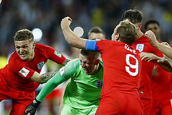 July 3, 2018 - Moscow, Russia - Kieran Trippier, Harry Kane and Jordan Pickford of England celebrate the victory after the penalty shootout of the 2018 FIFA World Cup Russia Round of 16 match between Colombia and England at Spartak Stadium on July 3, 2018 in Moscow, Russia. (Credit Image: © Matteo Ciambelli/NurPhoto via ZUMA Press)