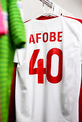 A special Bristol City warm up top hangs up in the dressing room in tribute to the Afobe family following the passing of Benik Afobe's baby daughter Amora, aged 2 - Rogan/JMP - 10/12/2019 - Ashton Gate Stadium - Bristol, England - Bristol City v Milwall FC - Sky Bet Championship.