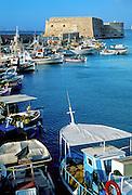 Heraklion, Crete, Greece: Venetian Fortress, Old Harbor boats.