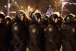 © Licensed to London News Pictures. 05/03/2014. Ukraine. Riot police at a demonstration in Donetsk, Ukraine, involving groups of pro-Russia and anti-Putin protestors, in the wake of events in Kyiv. .  Photo credit : Christopher Nunn/LNP
