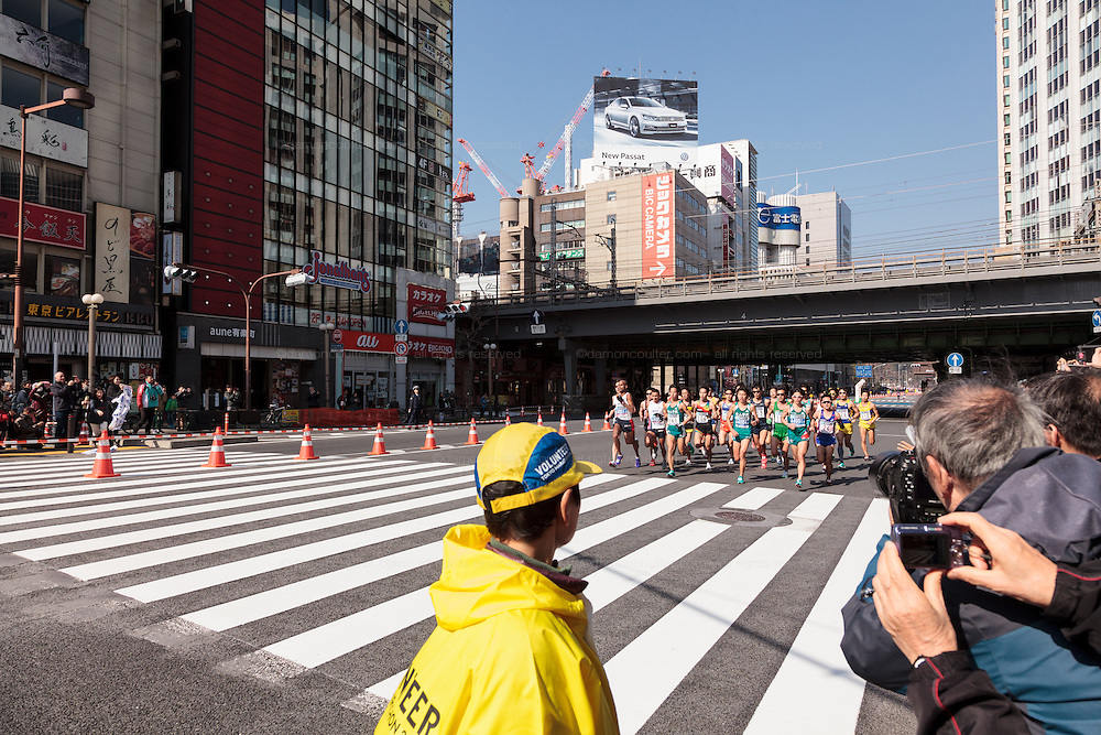 Elite runners during the 10th Tokyo Marathon took place on a fine spring day in Tokyo Japan. Sunday February 28th 2016. Thirty-six thousand runners took part with Ethiopian,  Feyisa Lilesa winning the  men's competition and  Kenyan, Helah Kiprop victorious in the women's race.
