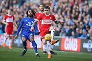 Muhamed Besic of Middlesbrough in action . EFL Skybet championship match, Cardiff city v Middlesbrough at the Cardiff city Stadium in Cardiff, South Wales on Saturday 17th February 2018.<br /> pic by Andrew Orchard, Andrew Orchard sports photography.