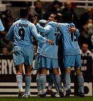 Photo: Jed Wee.<br /> Newcastle United v Celta Vigo. UEFA Cup. 23/11/2006.<br /> <br /> Celta Vigo celebrate the opening goal.