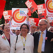 Lord Fowler, Conservative; Glenys Thornton, Lib Dem; Baroness Barker, Lib Dem; Lord Deben, Conservative celebrate with peers and supporters of the bill. The peers have all been great great advocates of the bill. The Same Sex Marriage bill had been passed in the House of Lords. The campaign for the bill has lasted decades. Summary of the Marriage (Same Sex Couples) Bill 2012-13 to 2013-14<br /> A Bill to make provision for the marriage of same sex couples in England and Wales, about gender change by married persons and civil partners, about consular functions in relation to marriage, for the marriage of armed forces personnel overseas, and for connected purposes. been great advocates of the bill. The Same Sex Marriage bill had been passed in the House of Lords. London Gay Chorus and supporters of the bill celebrate outside the House of Lords. The campaign for the bill has lasted decades. Summary of the Marriage (Same Sex Couples) Bill 2012-13 to 2013-14<br /> A Bill to make provision for the marriage of same sex couples in England and Wales, about gender change by married persons and civil partners, about consular functions in relation to marriage, for the marriage of armed forces personnel overseas, and for connected purposes.