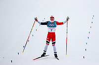 PYEONGCHANG,SOUTH KOREA.11.FEB.18 - OLYMPICS, NORDIC SKIING, CROSS COUNTRY SKIING - Olympic Winter Games PyeongChang 2018, 15 + 15 km Skiathlon, men. Image shows the rejoicing of Simen Hegstad Krueger (NOR).<br /> Krüger <br /> <br /> Norway only