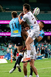 March 23, 2019 - Sydney, NSW, U.S. - SYDNEY, NSW - MARCH 23: Waratahs player Alex Newsome (11) and Waratahs player Israel Folau (15) go up for the ball resulting in a try for Israel Folau (15) at round 6 of Super Rugby between NSW Waratahs and Crusaders on March 23, 2019 at The Sydney Cricket Ground, NSW. (Photo by Speed Media/Icon Sportswire) (Credit Image: © Speed Media/Icon SMI via ZUMA Press)