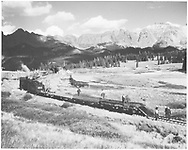 """Northbound dismantling train removing the RGS track at Lizard Head.<br /> RGS  Lizard Head, CO  10/11/1952<br /> Similar pictures by Bob Richardson in """"Silver San Juan"""", p. 570 and by Otto Perry in """"American Narrow Gauge Railroads"""", p. 280 seem to indicate that both were there on the same day photographing the end of Lizard Head."""
