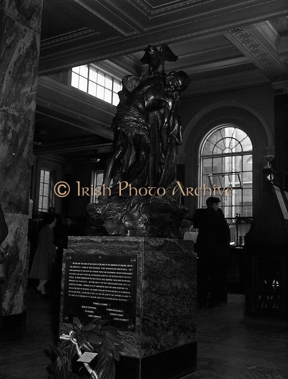 24/04/1957<br /> 04/24/1957<br /> 24 April 1957<br /> <br /> Easter Week 1916 Commemoration - Cuchulainn Statue at General Post Office, Dublin.