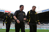 Burton Albion manager Nigel Clough and Burton Albion defender Kyle McFadzean (5) take a walk across the pitch after arriving at St James's Park during the EFL Sky Bet Championship match between Newcastle United and Burton Albion at St. James's Park, Newcastle, England on 5 April 2017. Photo by Richard Holmes.
