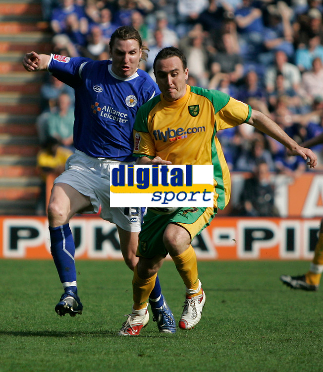 Photo: Pete Lorence.<br />Leicester City v Norwich City. Coca Cola Championship. 14/04/2007.<br />Nils-Eric Johansson and Lee Croft in action.