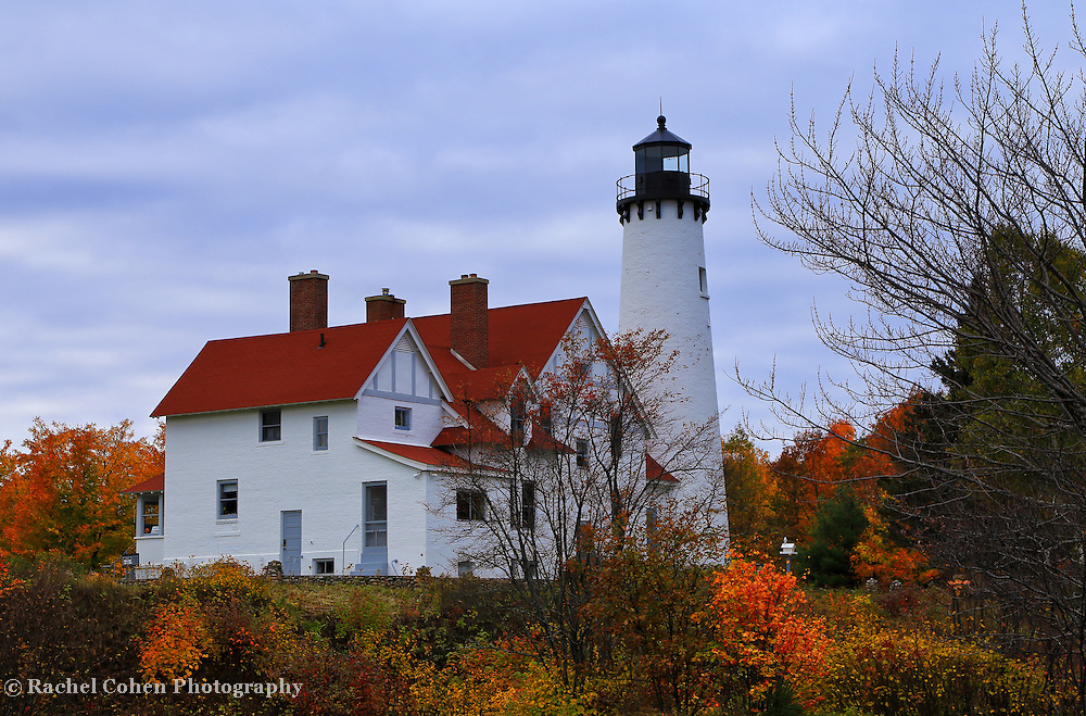 """""""Fall Upon Iroquois""""<br /> <br /> Beautiful autumn colors surround the lovely Point Iroquois Light Station on Lake Superior!!<br /> <br /> Lighthouses of the Great Lakes by Rachel Cohen"""