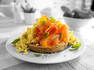 Smoked salmon scrambled eggs bagel