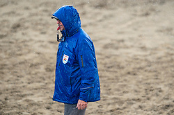Referee in action. The DELA NK Beach volleyball for men and women will be played in The Hague Beach Stadium on the beach of Scheveningen on 22 July 2020 in Zaandam.