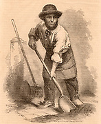 The London Scavenger. This man would sweep and clean streets, market places and pavements, picking up anything useful or valuable.  Engraving from 'London Labour and the London Poor' by Henry Mayhew (London, 1861).