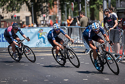 © Licensed to London News Pictures.  08/07/2018; Bristol, UK. Bristol Grand Prix cycle road race in Bristol city centre. The Bristol race was won by Matt Gibson for Team JLT Condor. Photo credit: Simon Chapman/LNP