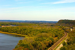October 2009: View of the  Mississippi River, Buffalo Lake, the railroad train tracks and highway 84 from an outlook in the Mississippi Palisades State Park. Sights to see in and around Galena Illinois. This image was produced in part utilizing High Dynamic Range (HDR) or panoramic stitching or other computer software manipulation processes. It should not be used editorially without being listed as an illustration or with a disclaimer. It may or may not be an accurate representation of the scene as originally photographed and the finished image is the creation of the photographer.