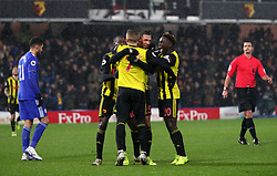 Watford's Jose Holebas celebrates scoring his side's second goal of the game with his team-mates during the Premier League match at Vicarage Road, Watford.