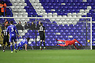 Birmingham City striker Lukas Jutkiewicz (15) scores a goal 1-0  during the EFL Sky Bet Championship match between Birmingham City and Brighton and Hove Albion at St Andrews, Birmingham, England on 17 December 2016.